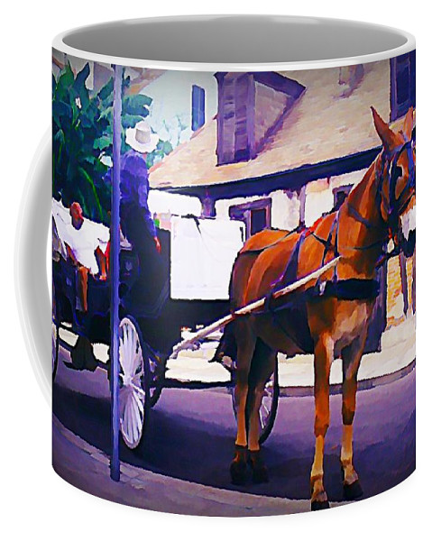 Horse And Carriage In Front Of Lafitte's Blacksmith Shop Coffee Mug featuring the painting Horse And Carriage In Front Of Lafitte's Blacksmith Shop by John Malone