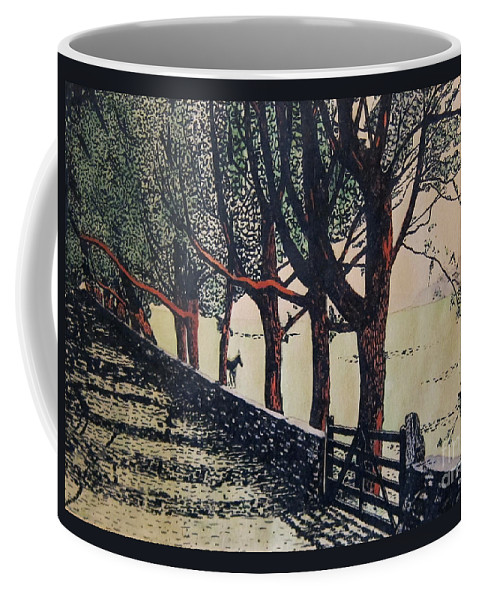 Canvas Prints Coffee Mug featuring the mixed media Horse And Fence by Joseph Juvenal