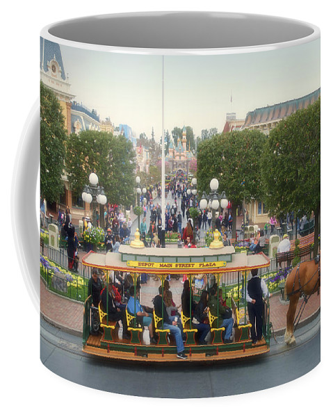 Disney Coffee Mug featuring the photograph Horse And Trolley Main Street Disneyland 02 by Thomas Woolworth