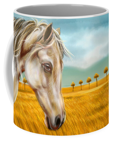 Horse Coffee Mug featuring the digital art Horse At Yellow Paddy Field by Arun Sivaprasad