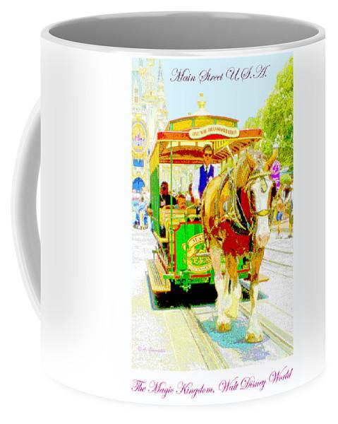 Walt Disney World Coffee Mug featuring the digital art Horse Drawn Trolley Car Main Street Usa by A Gurmankin