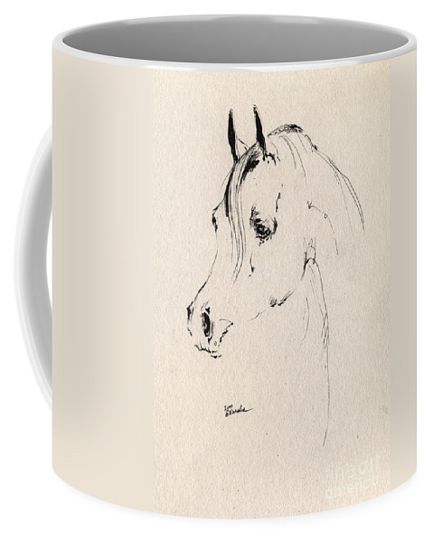 Horse Coffee Mug featuring the drawing Horse Head Sketch by Angel Ciesniarska