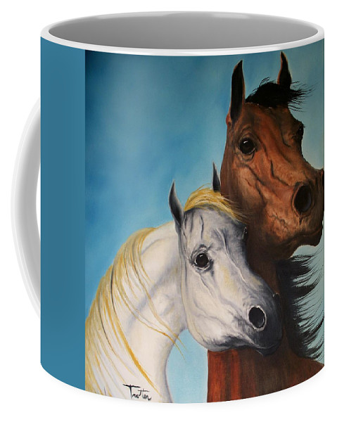 Horse Coffee Mug featuring the painting Horse Lovers by Patrick Trotter