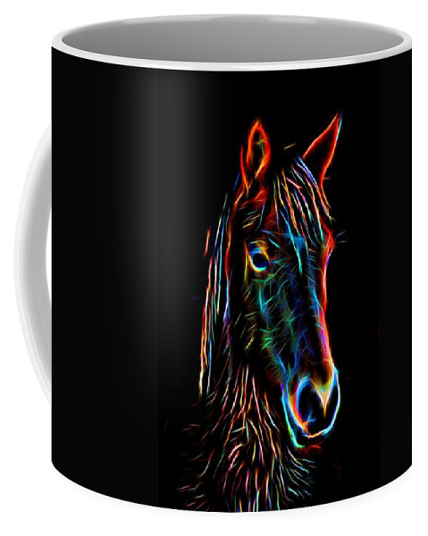 Horse Coffee Mug featuring the photograph Horse On Black by Alice Gipson