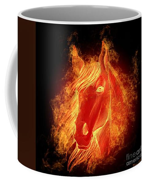Horse Coffee Mug featuring the digital art Horse On Fire by Mark Ashkenazi