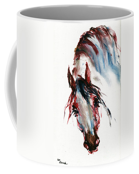 Horse Coffee Mug featuring the painting Horse Portrait by Angel Tarantella