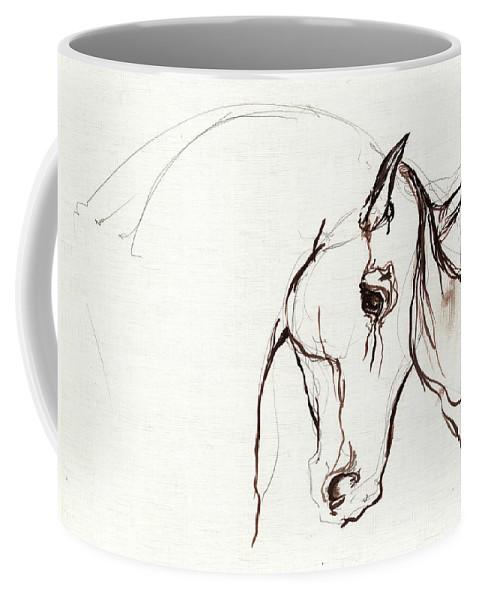 Horse Coffee Mug featuring the painting Horse Sketch by Angel Ciesniarska
