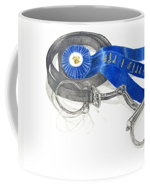 Horse Coffee Mug featuring the drawing Horseless Rider by J M Lister