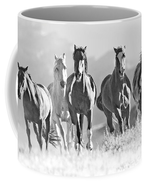 Horse Coffee Mug featuring the photograph Horses Crest The Hill by Carol Walker