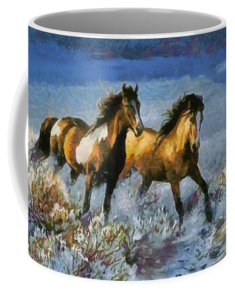 Horses In Water Coffee Mug featuring the digital art Horses In Water by Catherine Lott