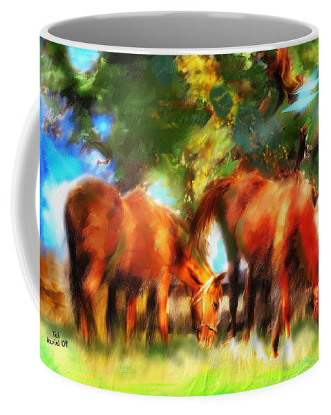 Horse Art Paintings Coffee Mug featuring the painting Horses On A Kentucky Farm by Ted Azriel