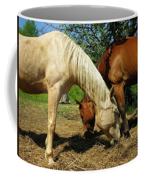 Horses Coffee Mug featuring the photograph Horses by Sherman Perry