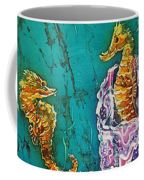 Seahorses Coffee Mug featuring the tapestry - textile Horsin Around by Sue Duda