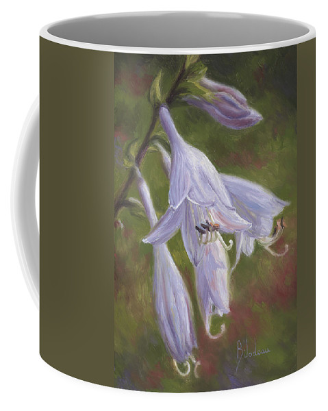 Nature Coffee Mug featuring the painting Hosta Flowers by Lucie Bilodeau