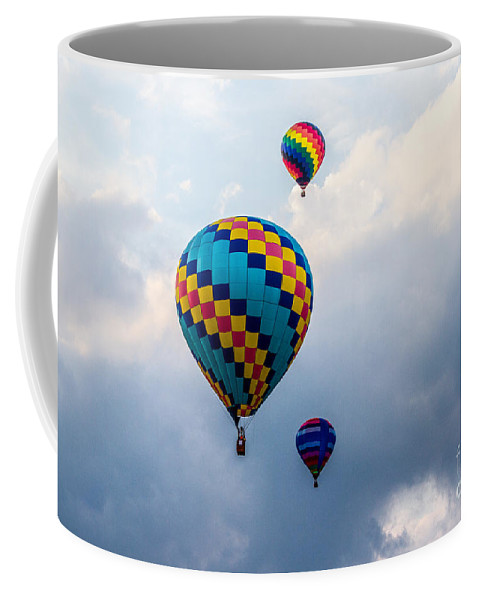 Events Coffee Mug featuring the photograph Hot Air Balloon Trio by Eleanor Abramson
