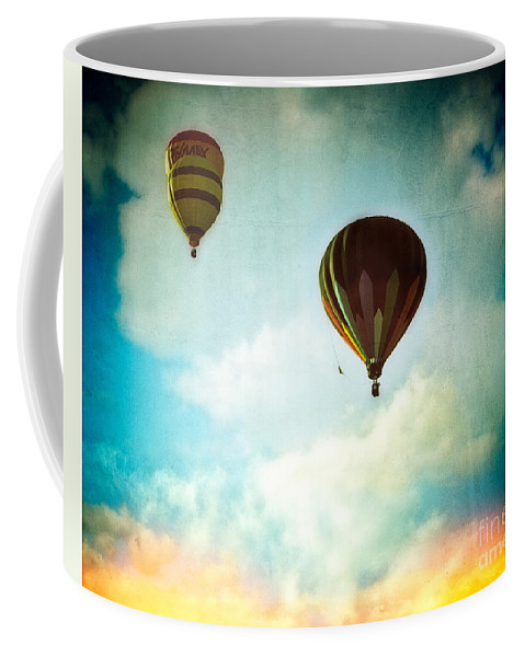 Events Coffee Mug featuring the photograph Hot Air Baloons In Blazing Sky by Eleanor Abramson