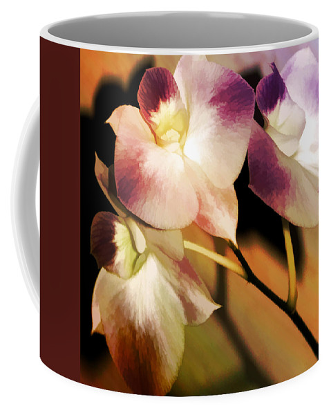 Floral Coffee Mug featuring the photograph Hot Orchid Nights by Holly Kempe