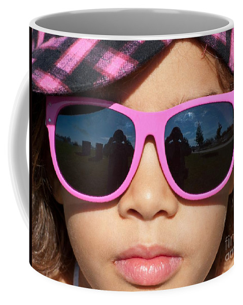 Sunglasses Coffee Mug featuring the photograph Hot Pink Sunglasses by Ann Horn