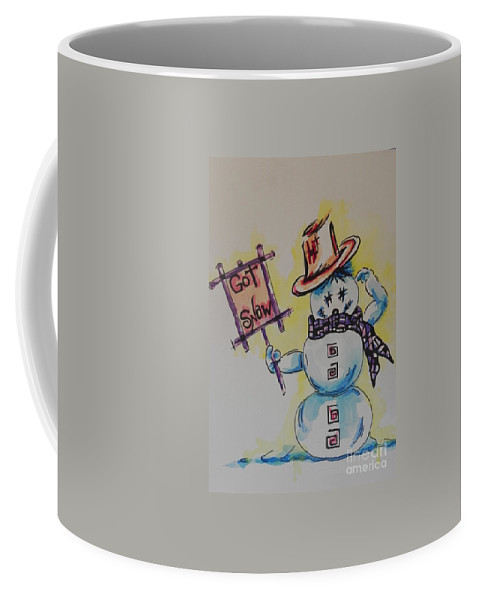 Watercolor And Ink Painting Coffee Mug featuring the painting Hot Stuff.... Got Snow by Chrisann Ellis