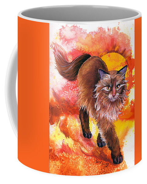 Cat. Kitty Coffee Mug featuring the painting Hot Stuff by Sherry Shipley