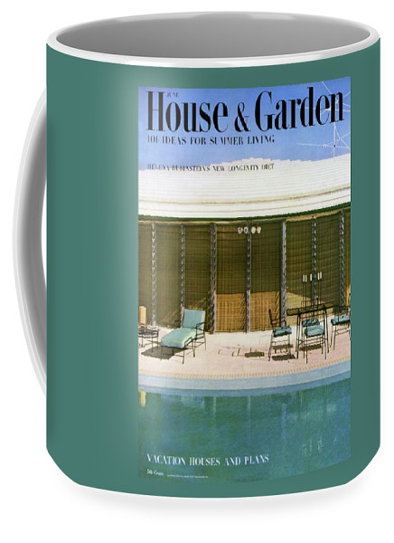 House & Garden Coffee Mug featuring the photograph House & Garden Cover Of A Swimming Pool At Miami by Rudi Rada