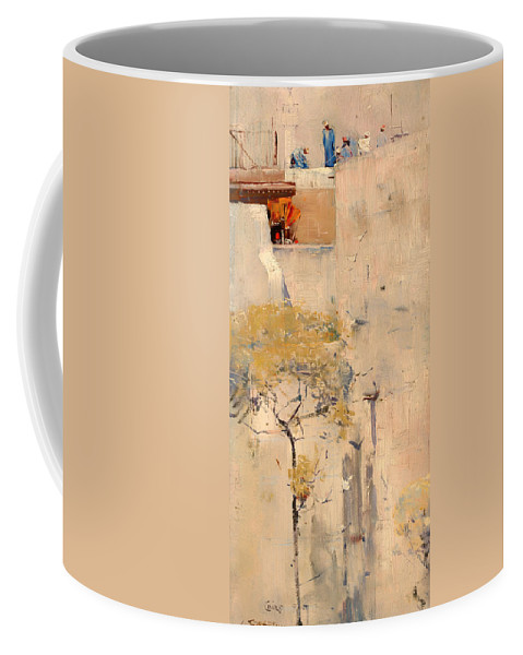 Painting Coffee Mug featuring the painting House Builders In Cairo by Mountain Dreams