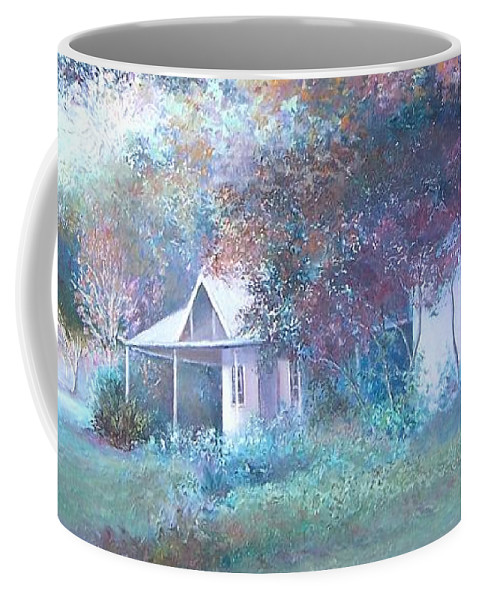 Farm House Coffee Mug featuring the painting House In The Woods by Jan Matson