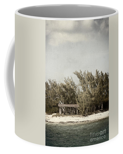 Fort; Garage; Picnic; Area; Beach; Water; Island; Deserted; Tropical; Waterfront; Shore; Coast; Bahamas; Shallow; Blue; Sky; Clouds; Sand; Trees; Building; Wood; Outside; Outdoors; Exterior; Cottage; Tropics; Ocean; Sea; Lake Coffee Mug featuring the photograph House On The Water by Margie Hurwich