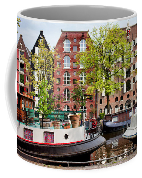 Amsterdam Coffee Mug featuring the photograph Houseboats And Houses On Brouwersgracht Canal In Amsterdam by Artur Bogacki