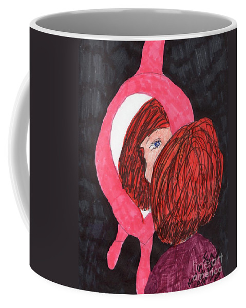 Pick Framed Mirror Red Haired Girl Coffee Mug featuring the mixed media How Do I Look by Elinor Helen Rakowski