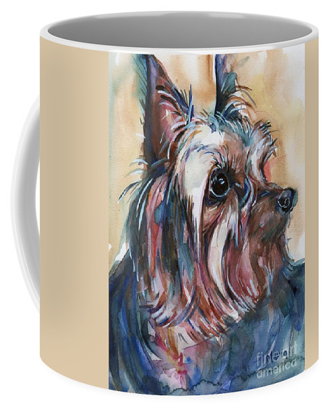 Yorkshire Terrier Painting Coffee Mug featuring the painting How Much Longer by Maria's Watercolor