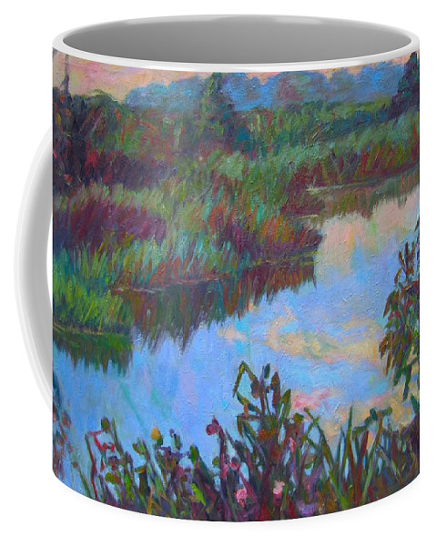 Landscape Coffee Mug featuring the painting Huckleberry Line Trail Rain Pond by Kendall Kessler