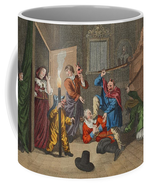 Poem Coffee Mug featuring the drawing Hudibras Catechizd, From Hudibras by William Hogarth