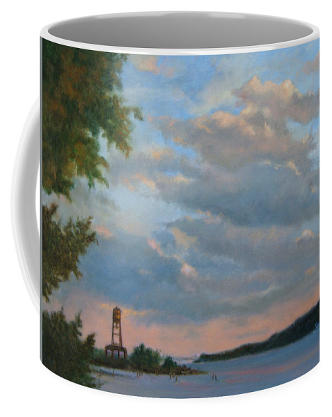 Hudson River Coffee Mug featuring the painting Hudson River Skyscape by Phyllis Tarlow