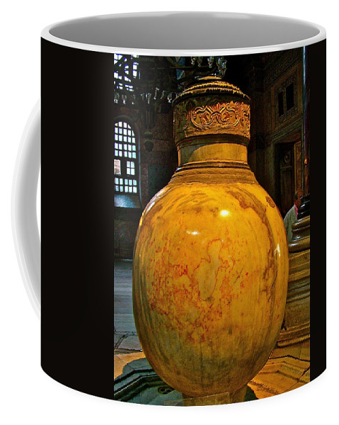 Huge Marble Jar Cut From One Piece Of Marble In Saint Sophia's In Istanbul Coffee Mug featuring the photograph Huge Marble Jar Cut From One Piece Of Marble In Saint Sophia's I by Ruth Hager