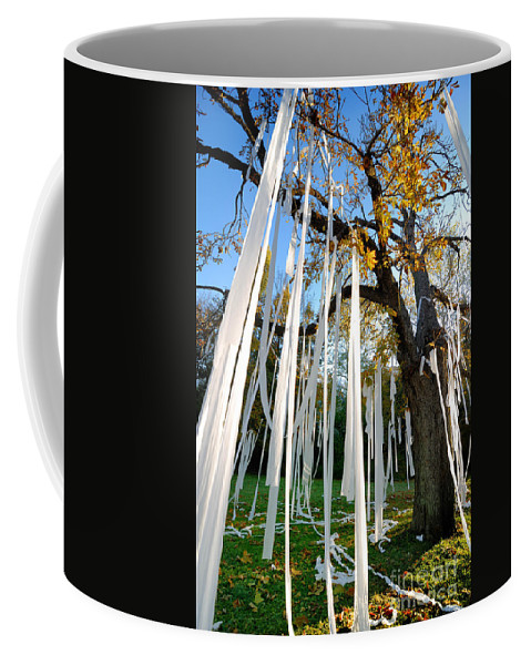 Tp'ing Coffee Mug featuring the photograph Huge Tree Covered In Toilet Paper by Amy Cicconi