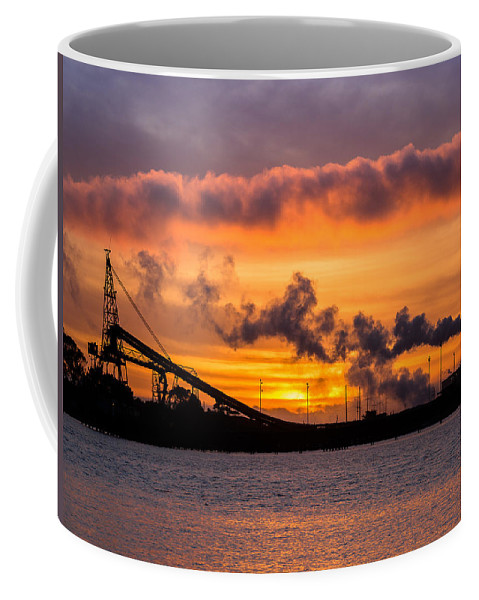 Humboldt Bay Coffee Mug featuring the photograph Humboldt Bay Industry At Sunset by Greg Nyquist