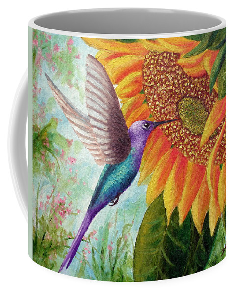 Hummingbird Coffee Mug featuring the painting Humming For Nectar by David G Paul