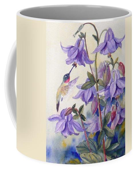 Hummingbird Art Coffee Mug featuring the painting Hummingbird And Purple Columbine by Janet Zeh