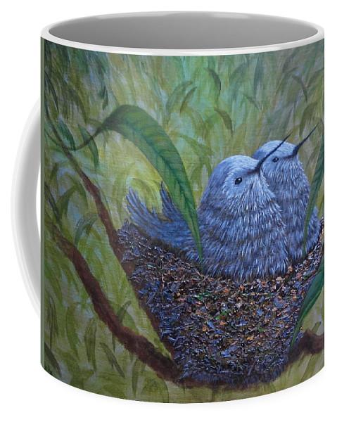Xochi Hughes Madera Coffee Mug featuring the painting Hummingbird Babies by Xochi Hughes Madera