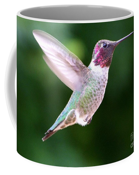White Coffee Mug featuring the photograph Hummingbird In Flight by Mary Deal