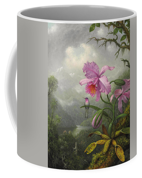 Orchid Coffee Mug featuring the painting Hummingbird Perched On The Orchid Plant by Martin Johnson Heade