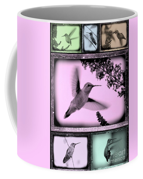 Hummingbird Coffee Mug featuring the photograph Hummingbirds In Old Frames Collage by Carol Groenen