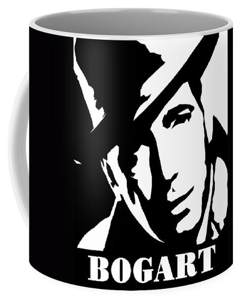 Humphrey Coffee Mug featuring the digital art Humphrey Bogart Black And White Pop Art by David G Paul