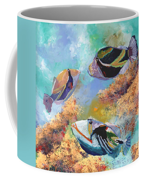 Hawaiian Fish Coffee Mug featuring the painting Humuhumu 3 by Marionette Taboniar