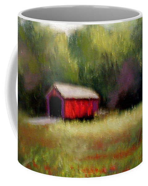 Covered Bridge Coffee Mug featuring the painting Hune Bridge by Gail Kirtz