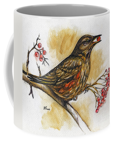 Thrush Coffee Mug featuring the painting Hungry Thrush by Angel Tarantella