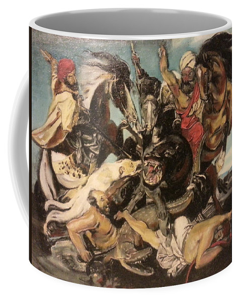 Coffee Mug featuring the painting Hunt By The Marsh Homage To Ruebens by Jude Darrien