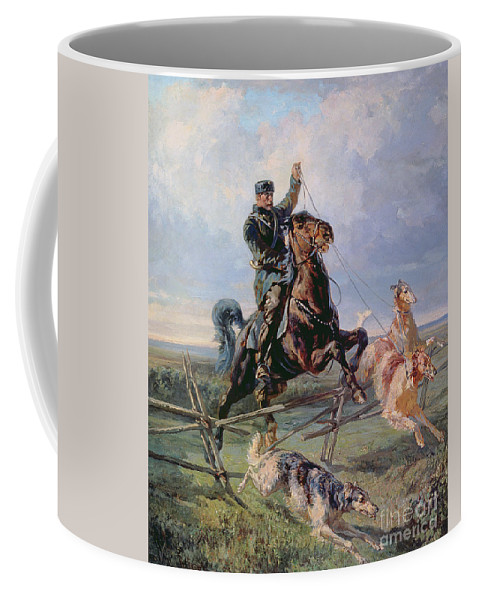 Borzoi Coffee Mug featuring the painting Huntsman With The Borzois by Rudolph Frenz