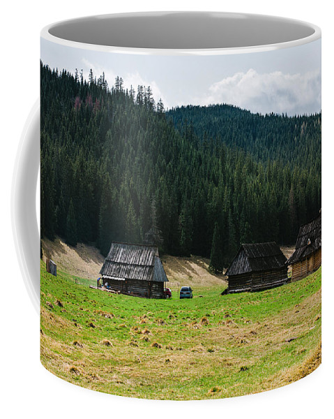 Dolina Chocholowska Coffee Mug featuring the photograph Huts In The Hills by Pati Photography